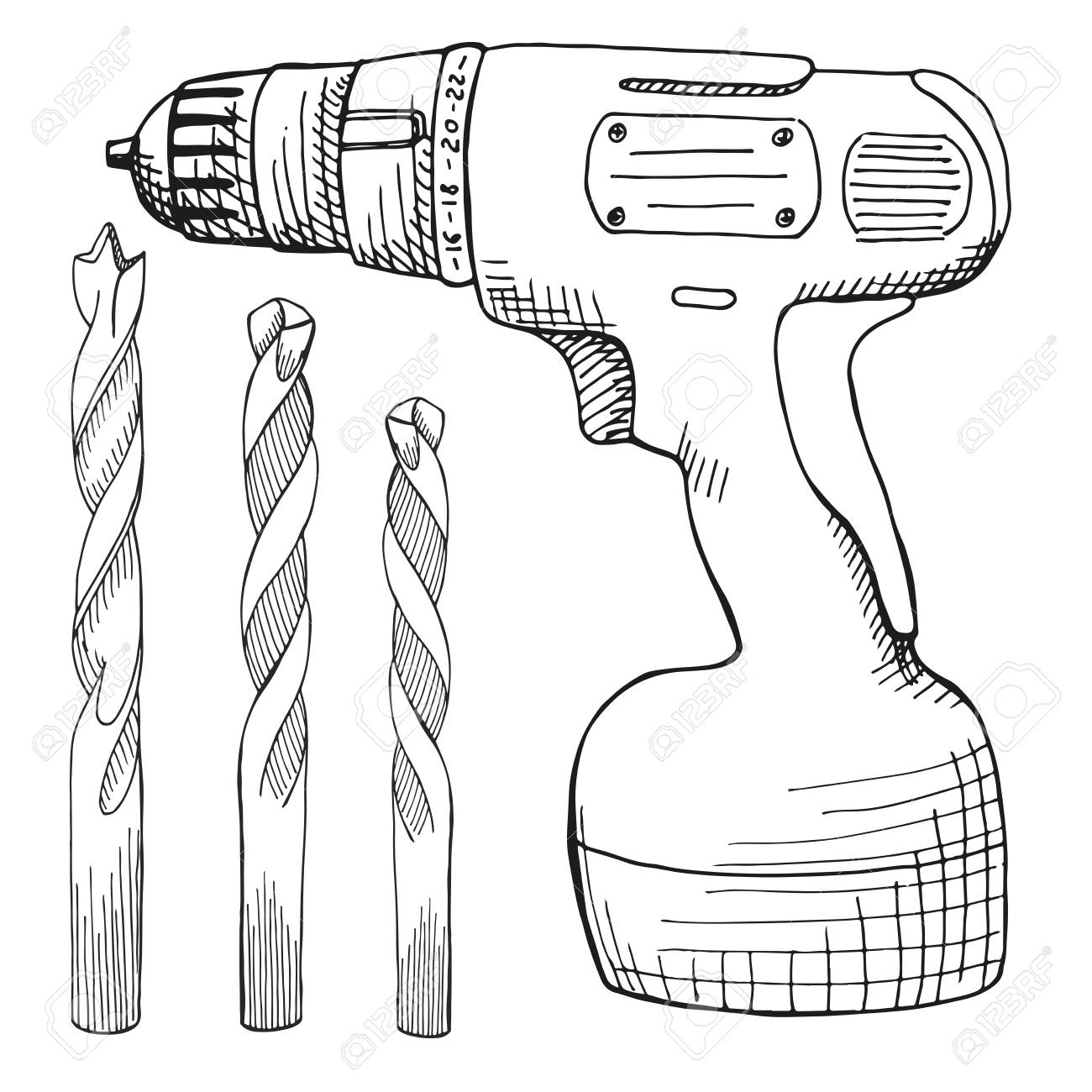 1300x1300 Set Of Screw Gun, And Wood Drill. Tools Illustration In Vector