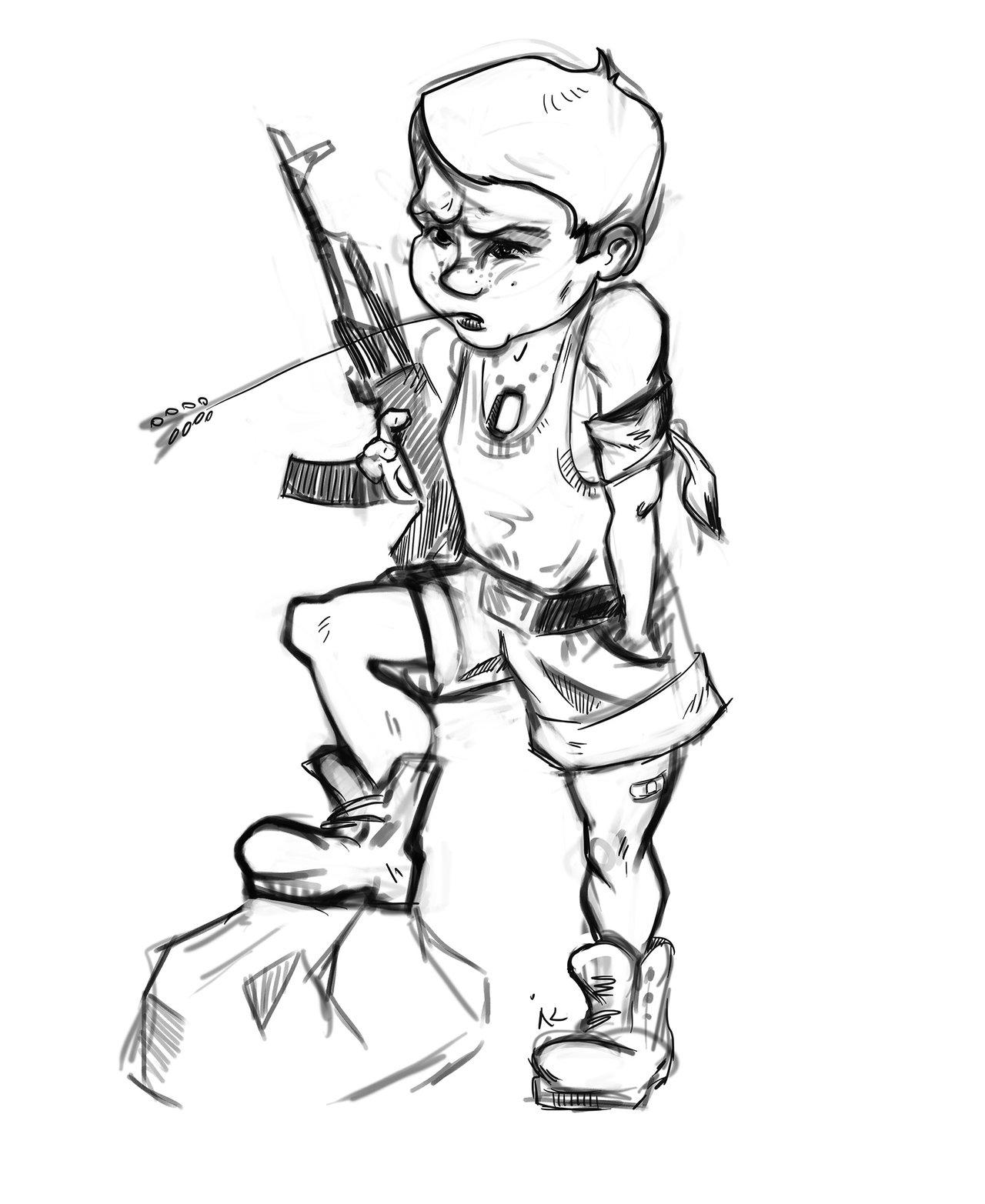 1280x1565 Boy With gun sketch by Drabadambra on DeviantArt