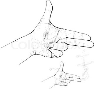 320x300 Hand Making Shape Of Pointed Gun. Person Holding Two Fingers Like