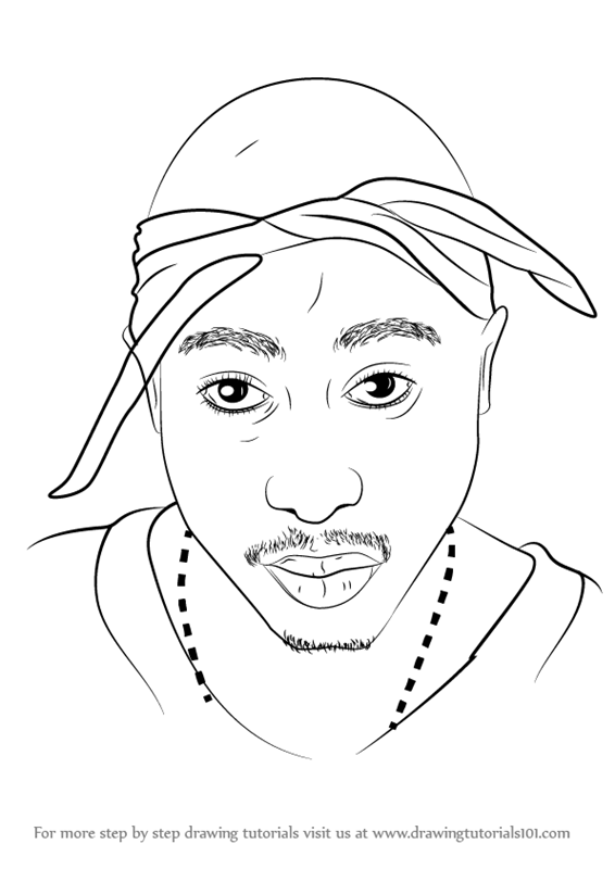 566x800 Learn How To Draw 2pac (Rappers) Step By Step Drawing Tutorials
