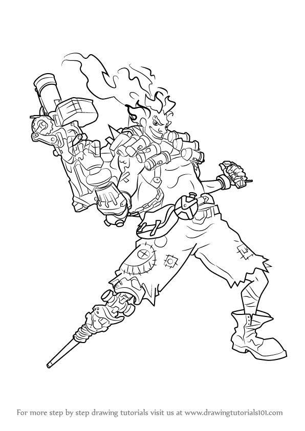 596x843 Learn How To Draw Junkrat From Overwatch (Overwatch) Step By Step