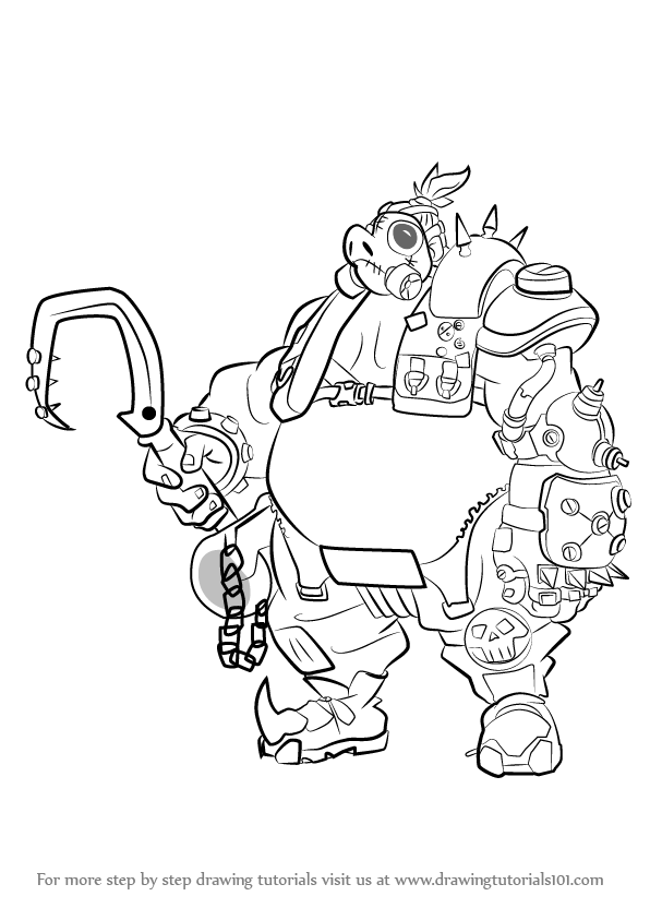 596x843 Learn How To Draw Roadhog From Overwatch (Overwatch) Step By Step