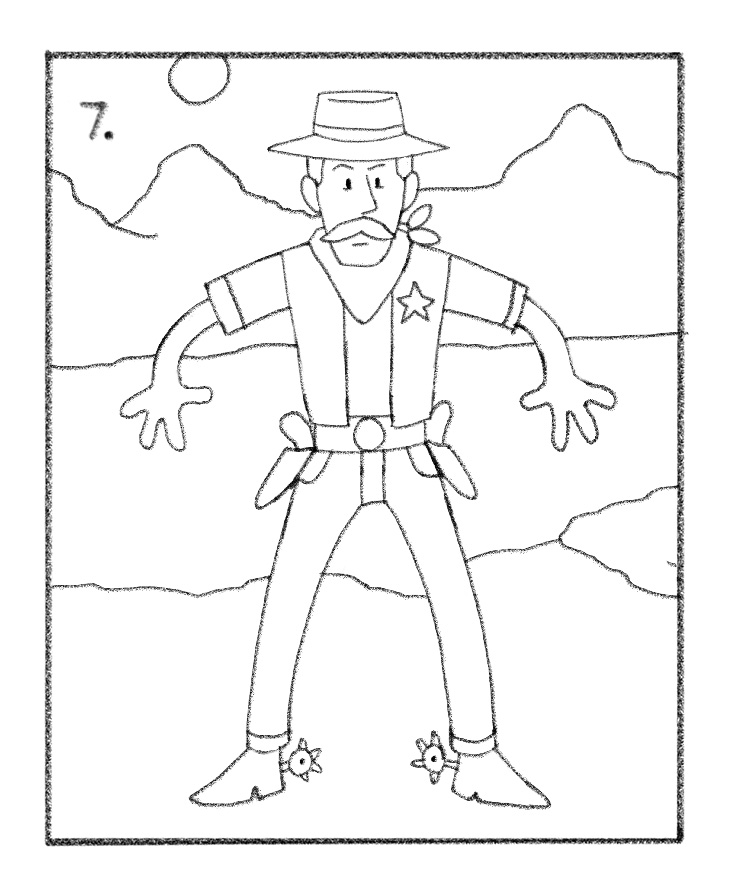736x893 Cowboy Drawing Tutorial Draw A Cowboy Drawing Tutorials For Kids