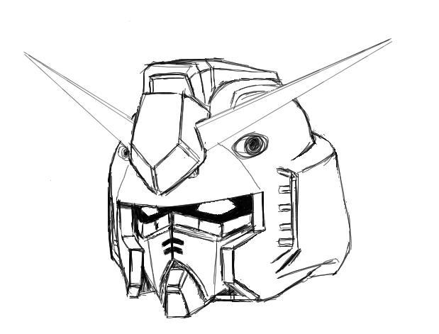 619x471 Gundam Head Pchat Sketch By Gundamwingex