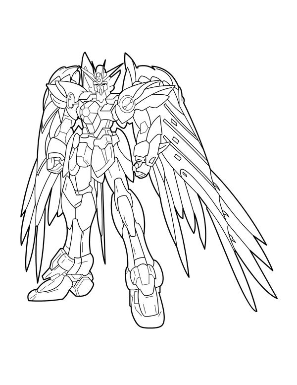 600x776 Ink Gundam Wing Zero By Charfade