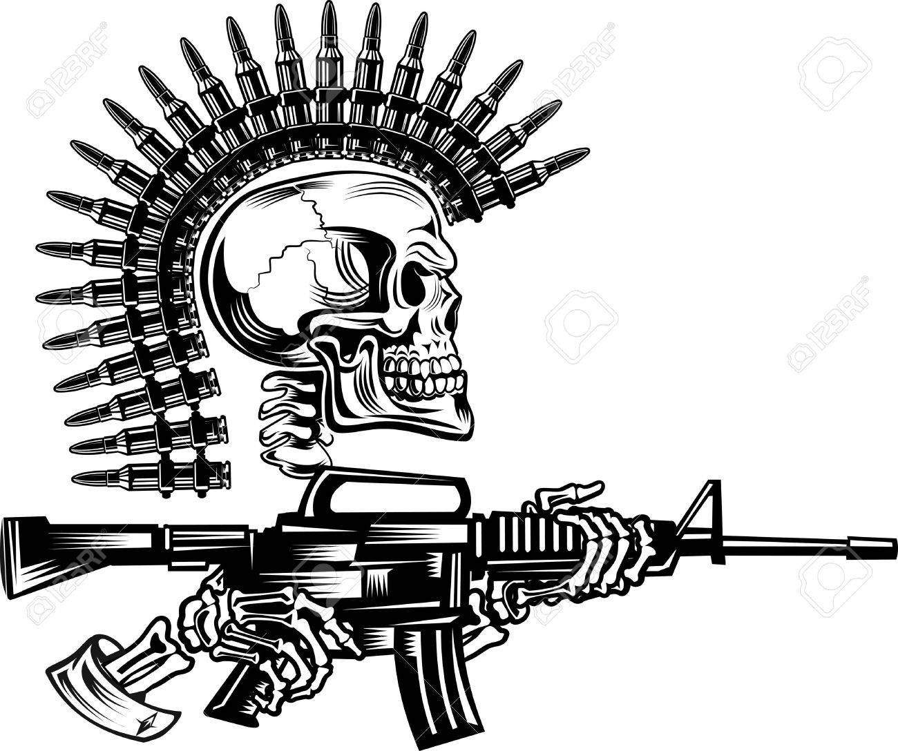 1300x1088 Skeleton With Guns Cartridges And Rifle Royalty Free Cliparts