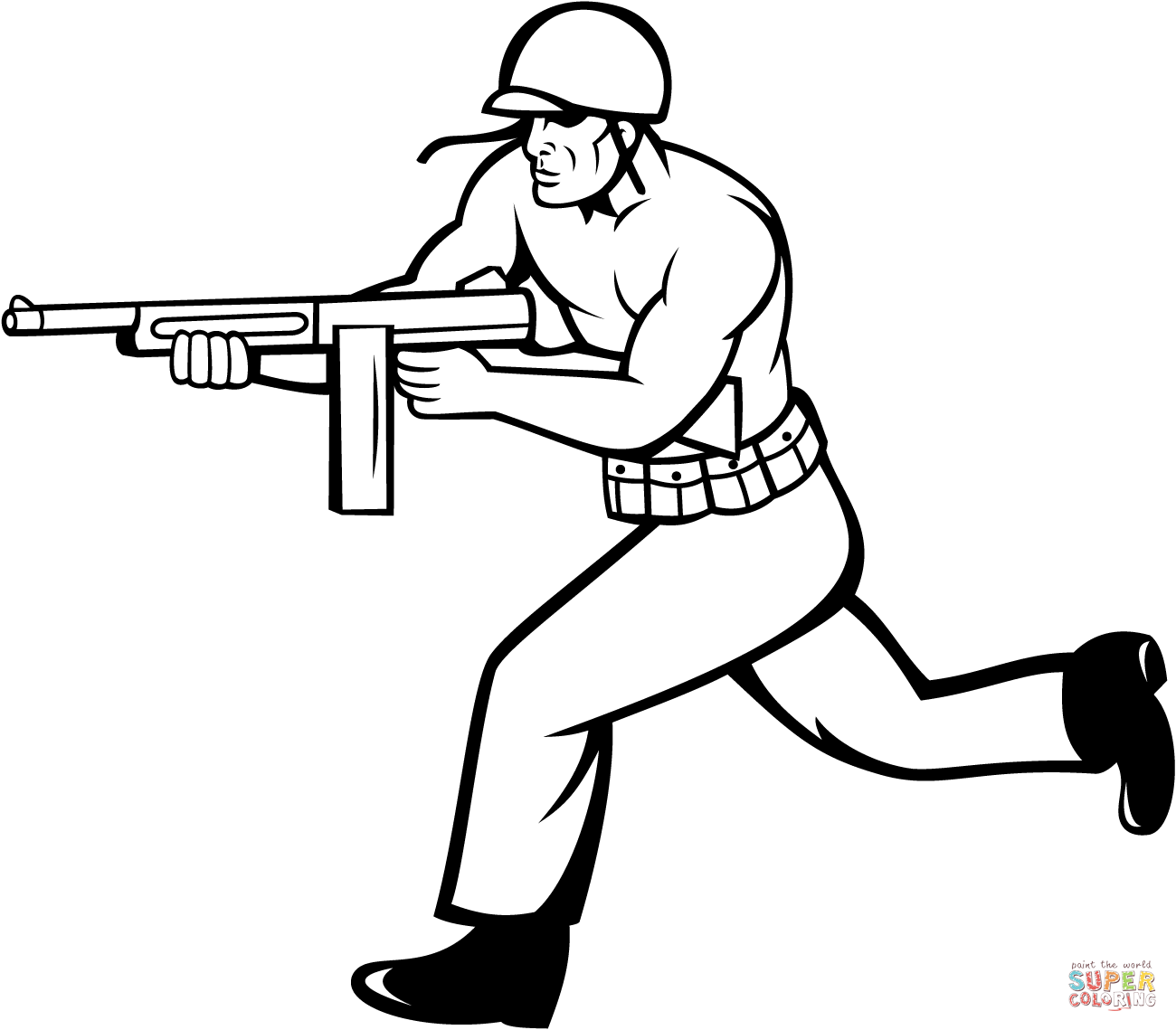 1300x1139 Soldier Running With Tommy Gun Coloring Page Free Printable