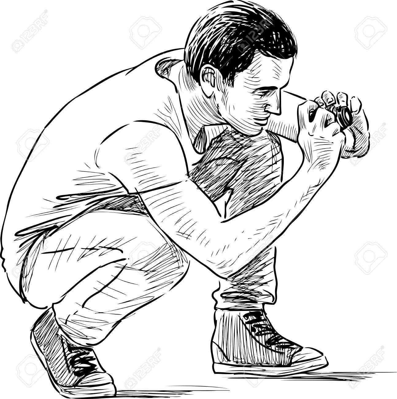 1294x1300 Sketch Of A Guy Taking A Pfoto Royalty Free Cliparts, Vectors,