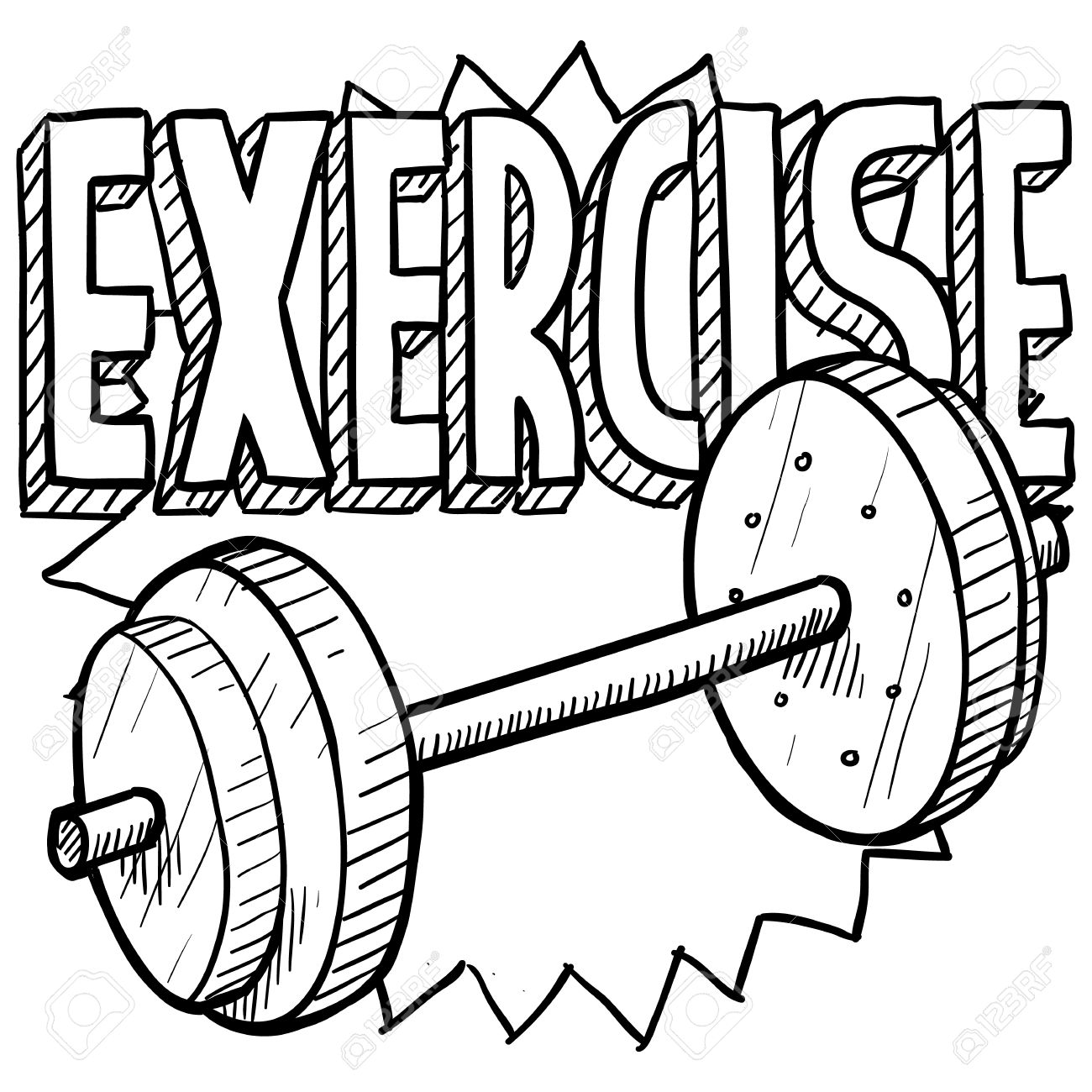 1300x1300 Doodle Style Gym Workout Or Weight Exercise Sports Illustration