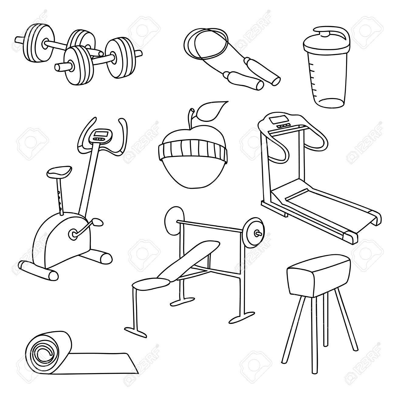 1300x1300 Fitness Gym Equipment.hand Draw Doodle Set Icons. Royalty Free