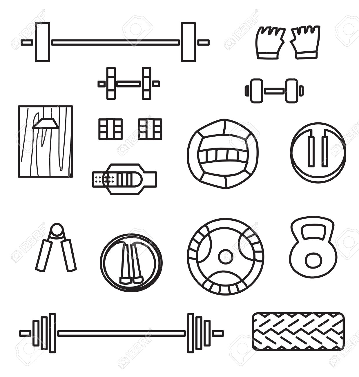1238x1300 Set Of Crossfit Gym Equipment Line Icons Of Dumbbell, Gymnastics