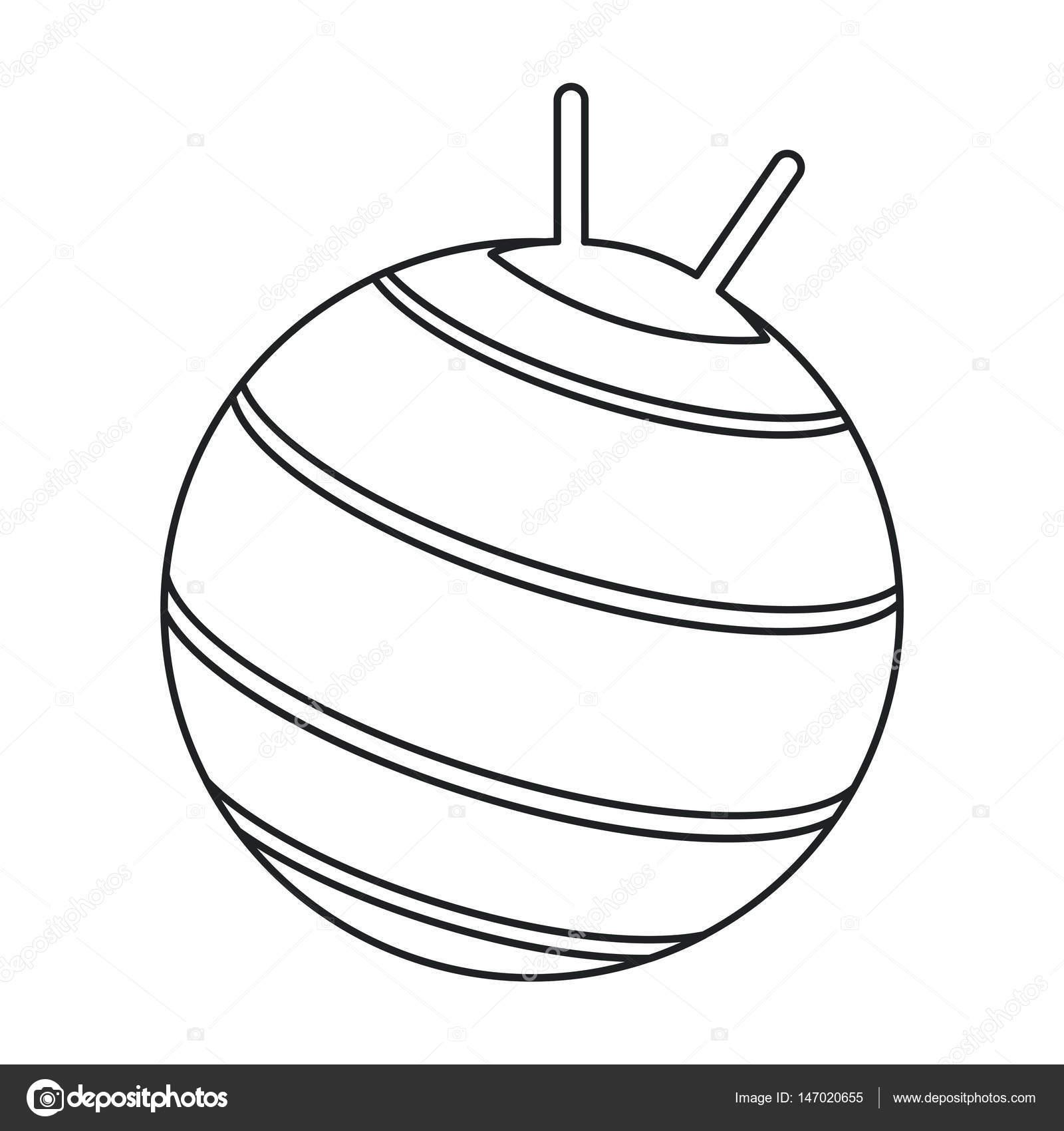 1600x1700 Ball Fitness Gym Equipment Outline Stock Vector Jemastock