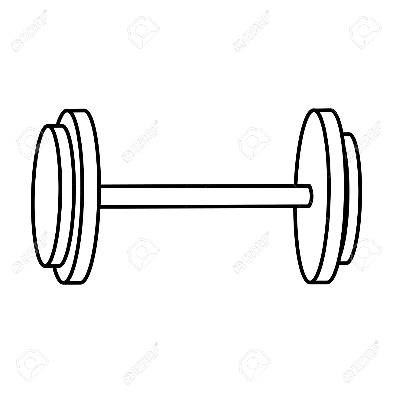 1300x1300 Dumbbell Weight Gym Equipment Image Line Vector Illustration