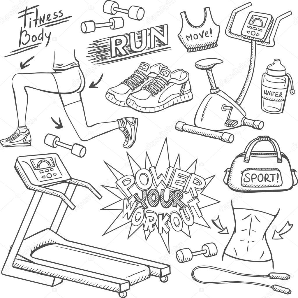 1023x1022 Gym And Fitness Doodles Set Stock Vector Karinacornelius