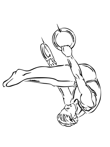 360x480 Gymnastic Ring Performance Coloring Page Free Printable Coloring