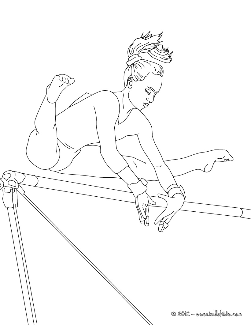 821x1061 Uneven Bars Artistic Gymnastics Coloring Page Birthday Party