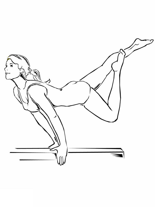 600x800 Awesome Balance Beam Artistic Gymnastic Coloring Page
