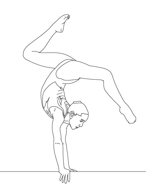 600x775 Balance Beam Artistic Gymnastic Coloring Page