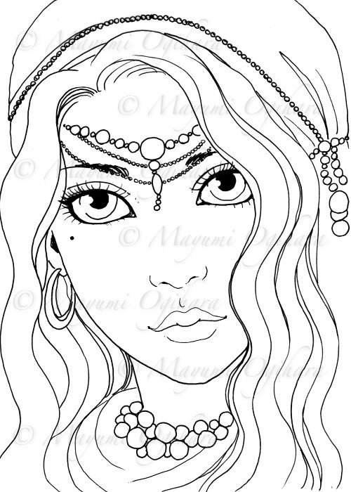 500x700 Gypsy Girl Digital Stamp Colouring Page Printable Instant