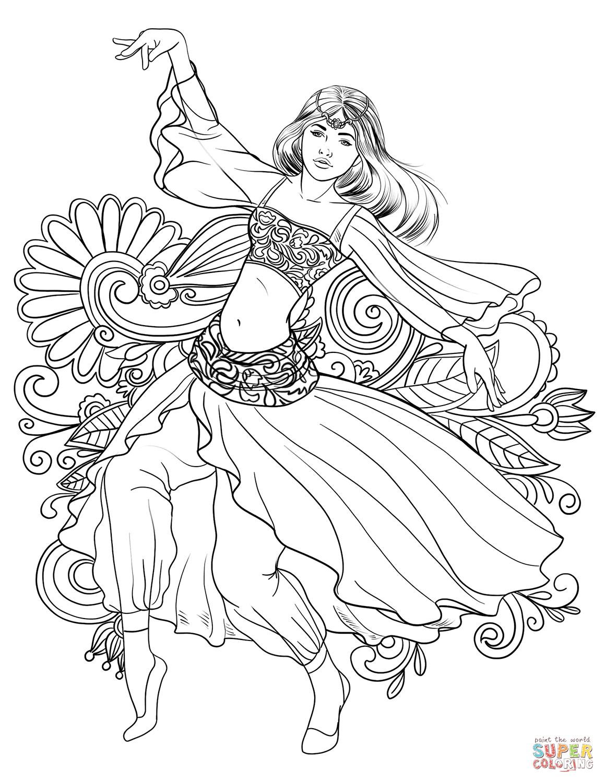 1159x1500 Gypsy Woman Dancing Carmen Coloring Page Free Printable Coloring