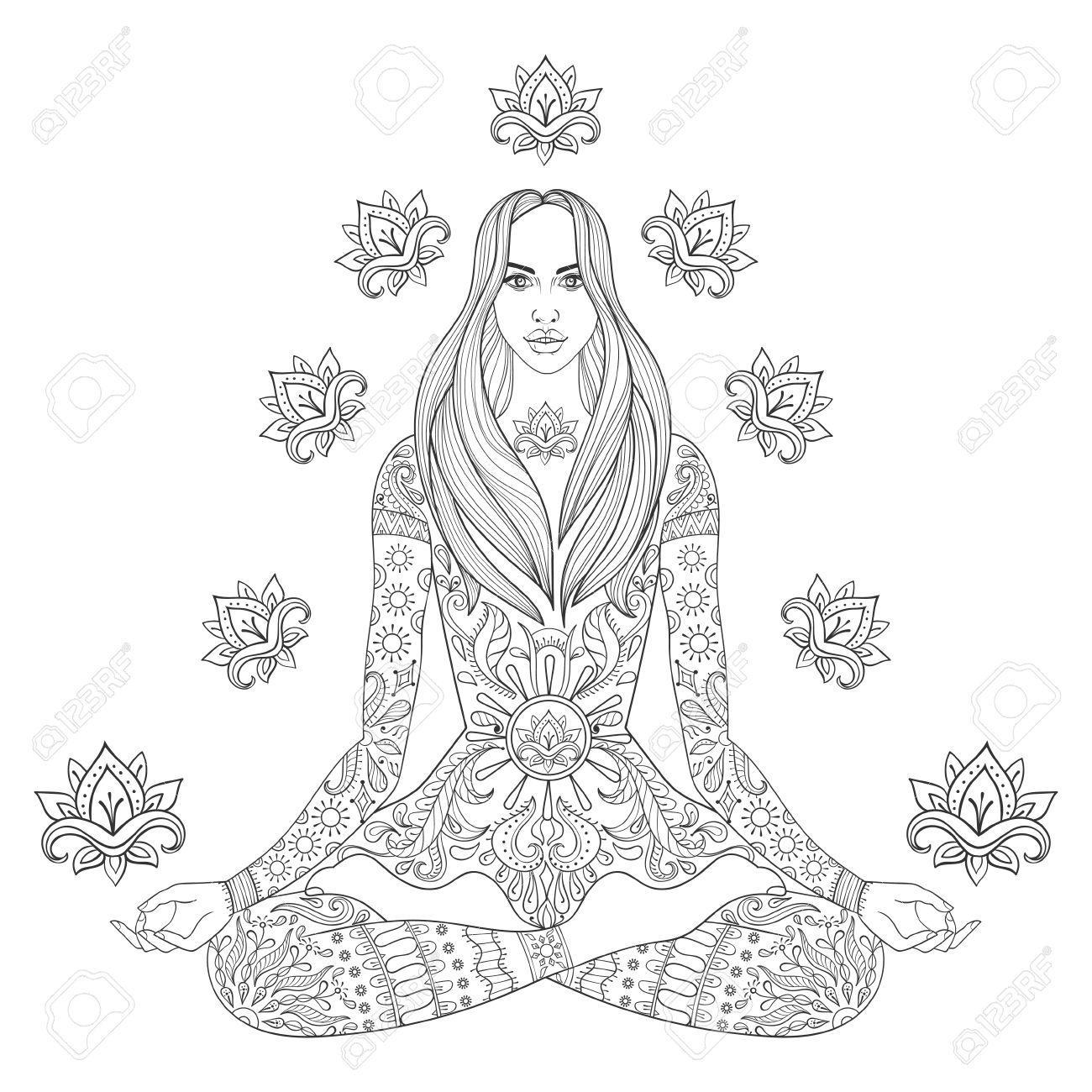 1300x1300 Meditating Beauyiful Girl Sitting In Lotus Pose. Vector Ornate