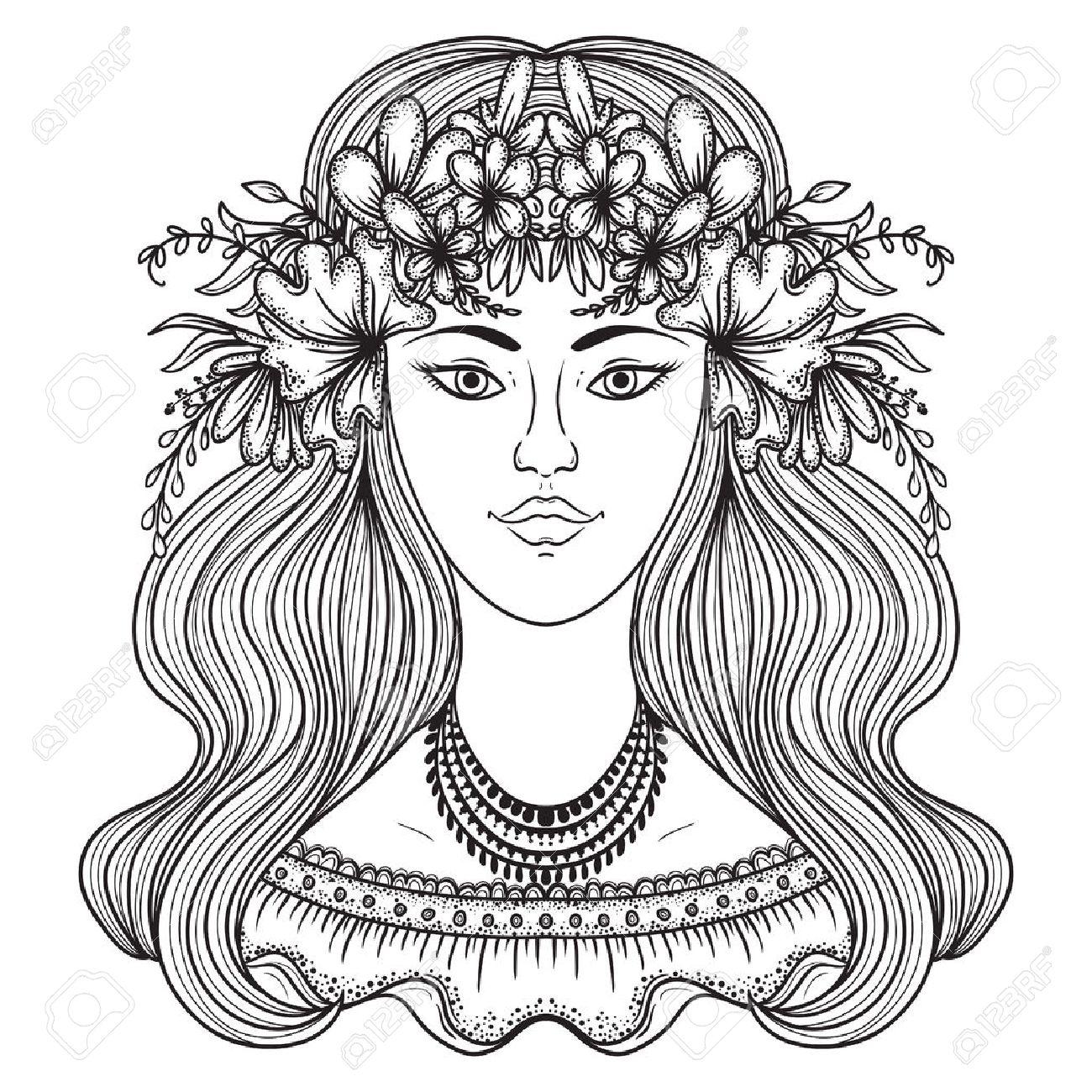 1300x1300 Portrait Of Gypsy Woman With Flower Around Head. Boho Style