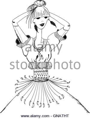 300x397 Sketch Of Girl In Gypsy Dress. Boho Style. Linear Pattern On
