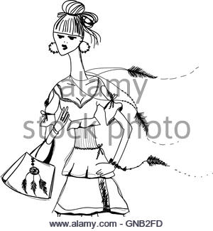 300x325 Sketch Of Woman In Historical Dress, Writing Quill Pen Stock Photo