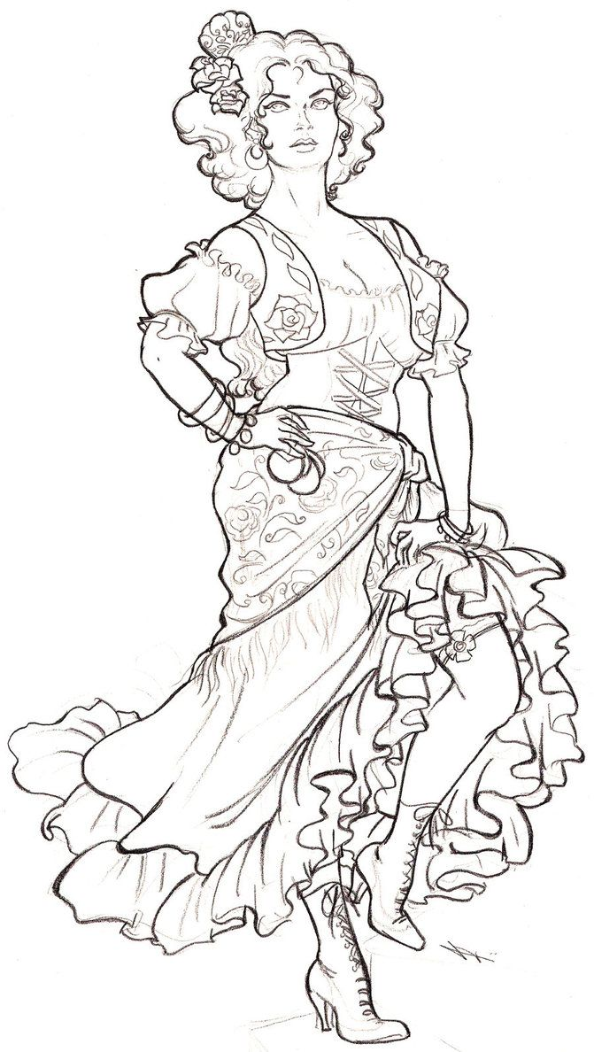 671x1188 Dancing Gypsy Free Color People Free Coloring
