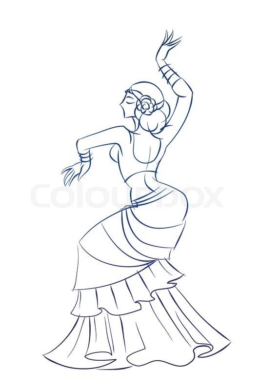 533x800 Gesture Sketch Line Drawing Of Belly Dancing Woman Stock Vector