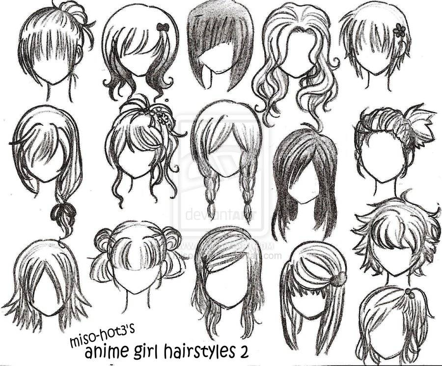 900x745 drawing anime girl hairstyles learning to draw pinterest