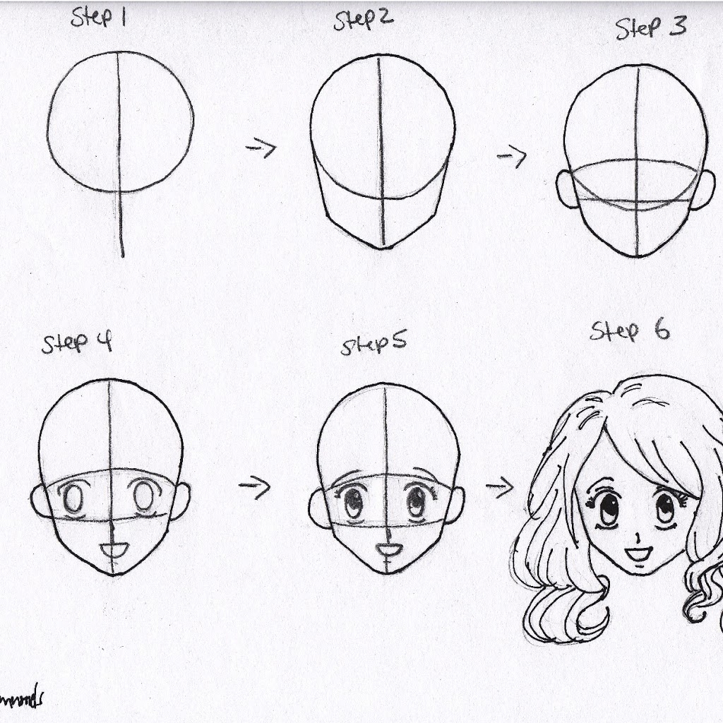 1024x1024 Step By Step How To Draw A Anime Girl How To Draw Anime Girl Hair