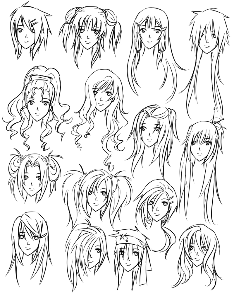 800x1000 Anime Drawing Hair Hair Sample (Don'T Copy And Put It In Your