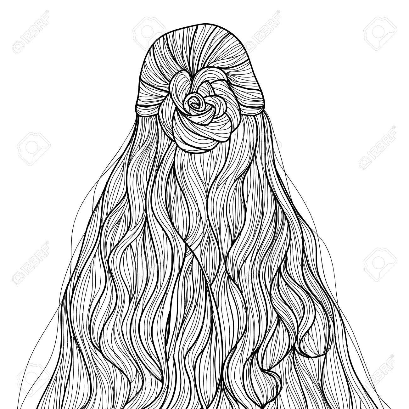1300x1300 Half Up Curly Hair With Braid Flower Hairstyle Royalty Free