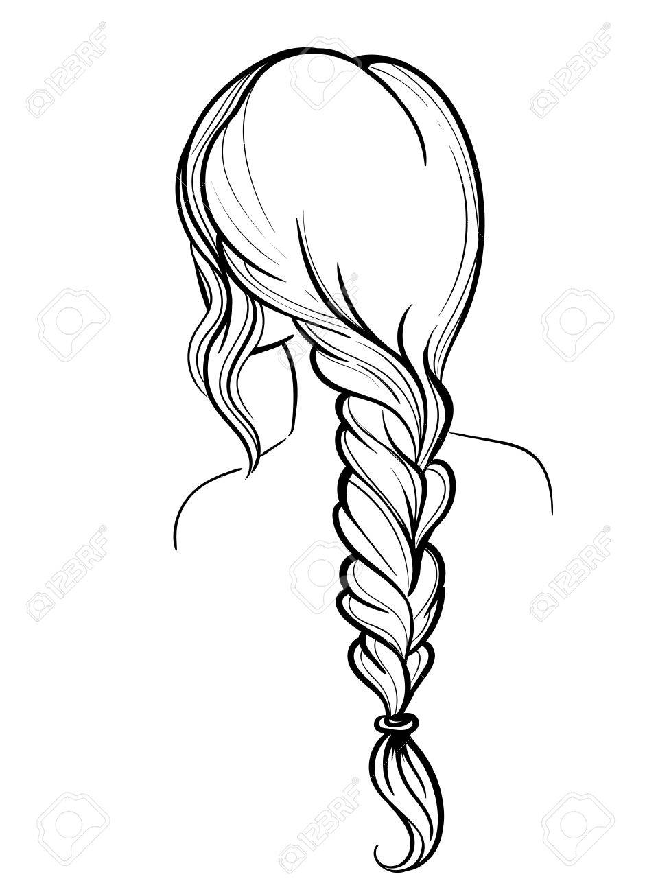 975x1300 Woman Holding Her Braid Set Of Hairstyles. Bridal Hairdo. Hand