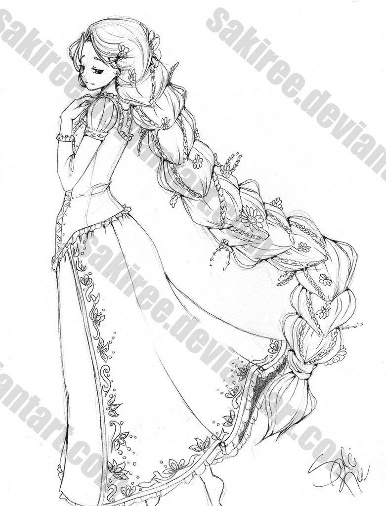 781x1024 Braid Rapunzel Sketch By Sakiree