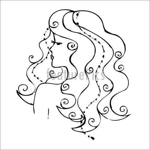 500x500 Illustration Of Drawing. A Girl With Long Hair