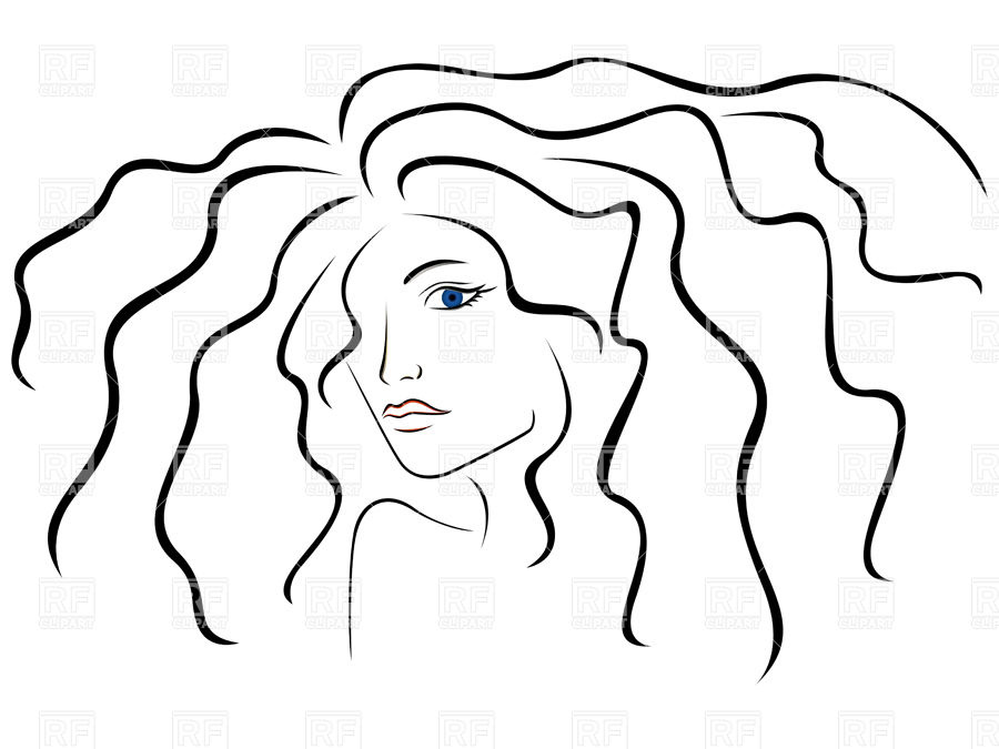 900x675 Outline Of Woman's Head With Long Hair Royalty Free Vector Clip