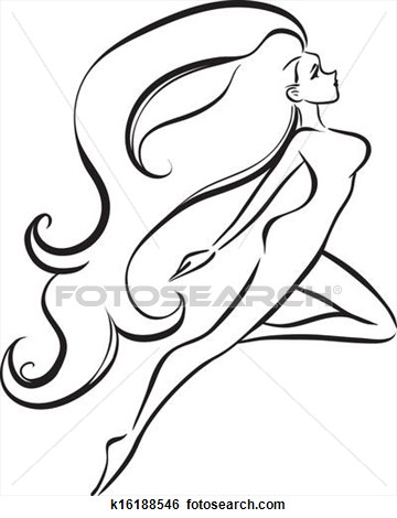 360x470 Slender Girl With Long Thick Hair View Large Clip Art Graphic