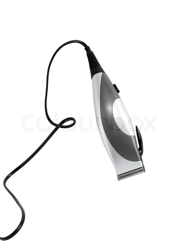598x800 Modern Electric Hair Clipper With Cable On White Background