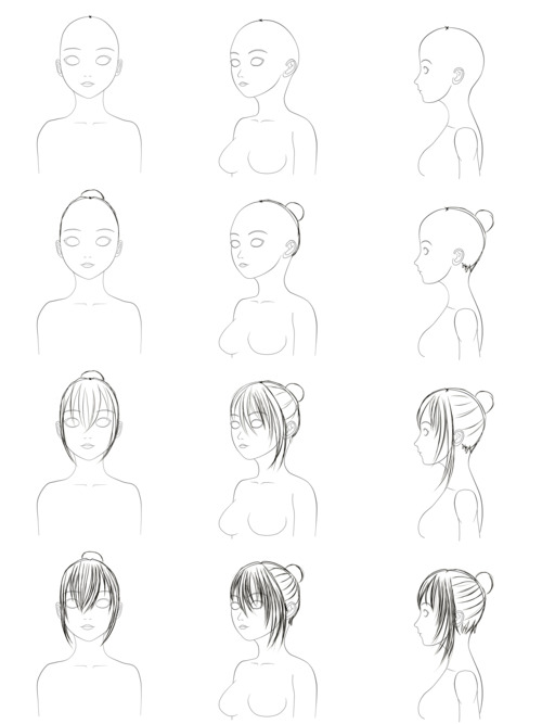 500x667 How To Draw Hair Step By Step On We Heart It