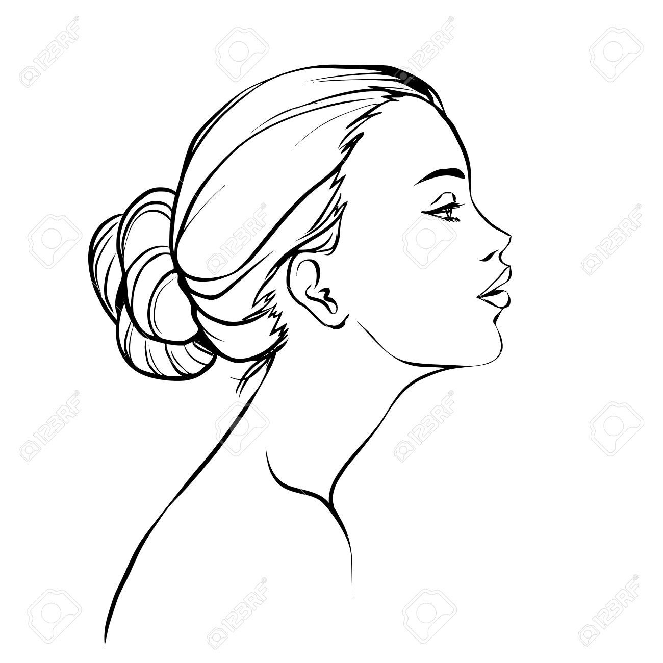 1300x1300 Profile Of Young Beautiful Woman With Hair Bun. Black And White