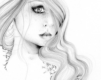340x270 Fairy Art Pencil Drawing Giclee Print Of My Original Fairy