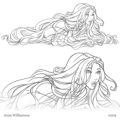 500x500 Pencil Sketch Surprise! Hair! Anna Williamson