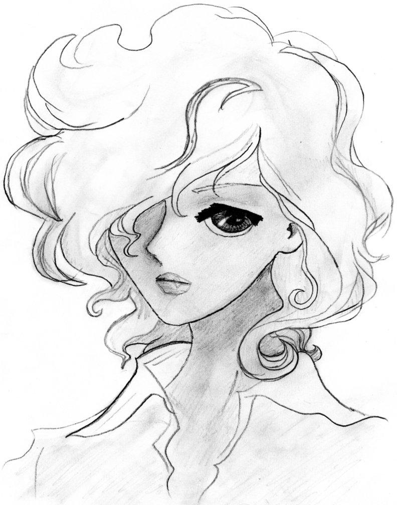 792x1008 Anime Girl With Long Hair Sketch Drawn Long Hair Curl Hair