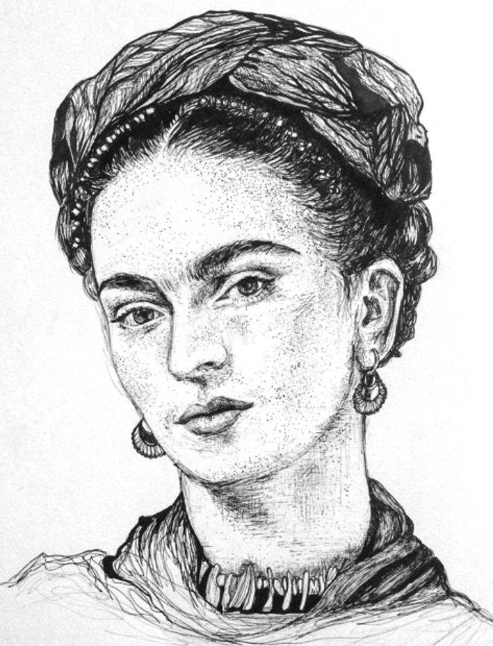 709x930 Print Frida Kahlo Drawing Pen Ink Portrait Feminist Mexico