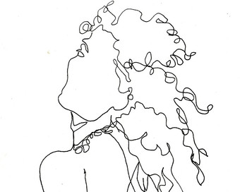340x272 Art Pen And Ink Drawing Winking Woman With Curly Hair