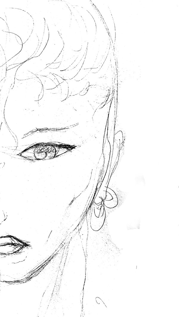 600x1063 Half Woman Face Sketch By Sigmakata