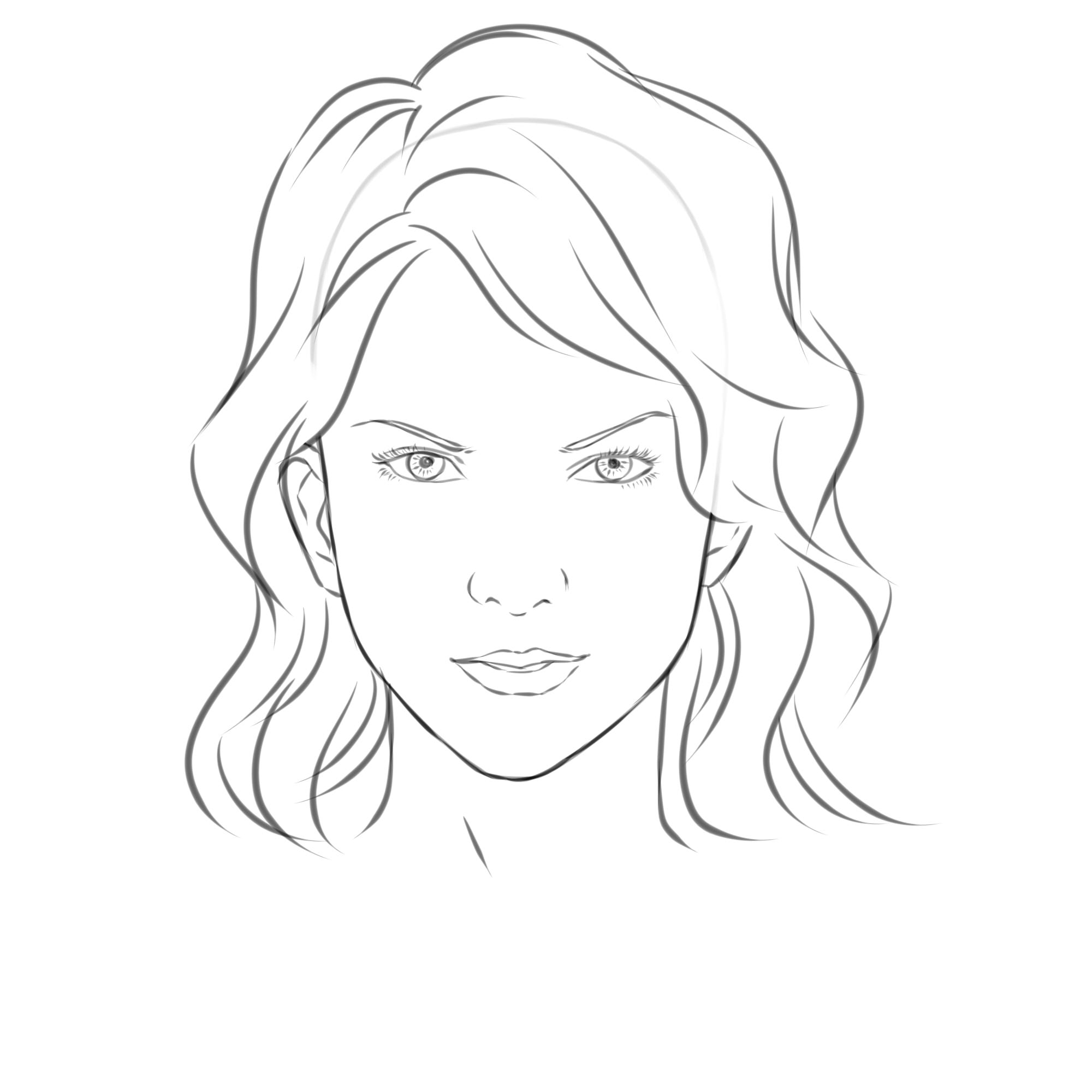 2000x2000 Lady Face Sketch For Drawing Girl Half Face Sketchdanydroop