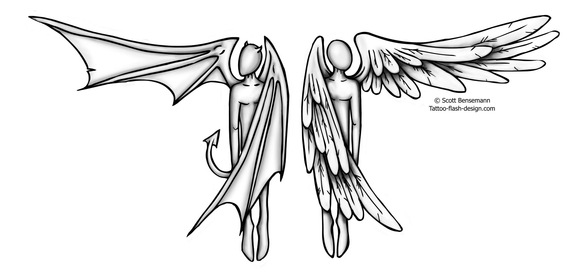 1962x936 Half Angel Half Devil Tattoo Design By Scott Bensemann